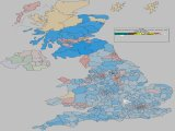 UK General Election Forecast - Coloured by most significant 'Swing To' percentage