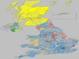 UK General Election Results - Coloured by most significant 'Swing From' percentage