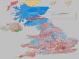 UK General Election Results - Coloured by most significant 'Swing To' percentage
