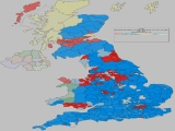 UK General Election Forecast - Coloured by most significant 'Swing From' percentage