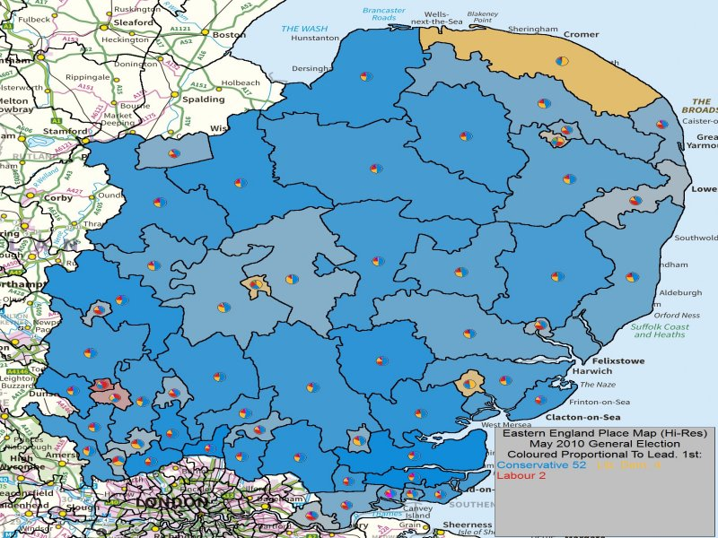 May 2010 General Election Result in Eastern England