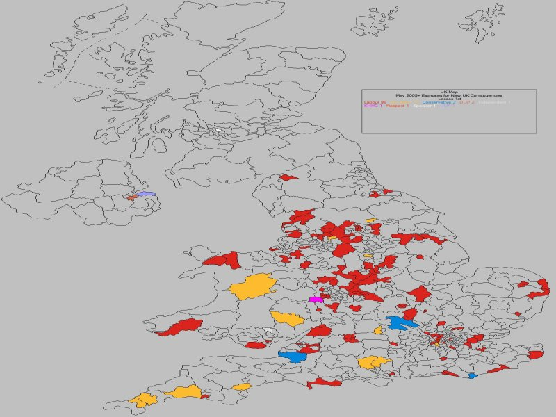 May 2010 General Election Result - UK Losses