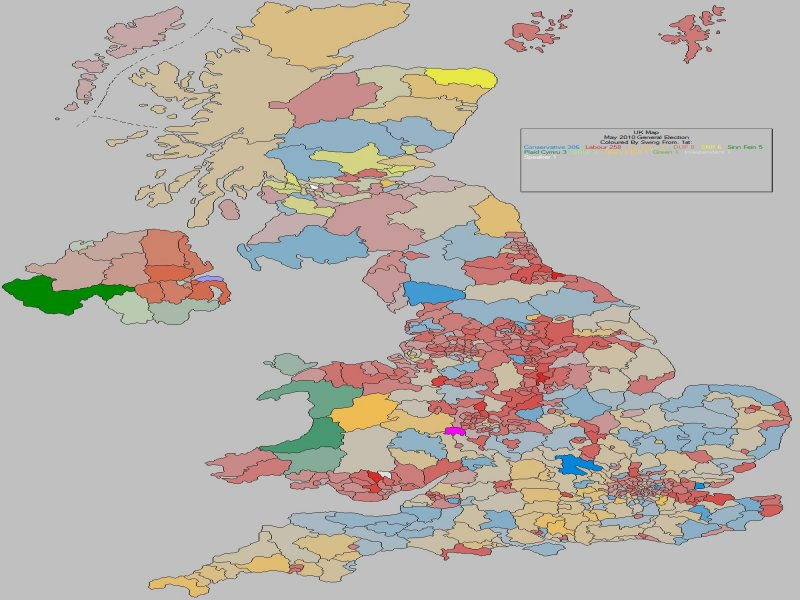 May 2010 General Election Result - UK (Swing From)