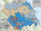 Yorkshire and Humberside in 2010 - Coloured by Most Significant Swings To and with Seats Gained shown